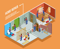 Home Repair Isometric Template. With painting carpentry  installation of toilet door and window   vector illustration Stock Images