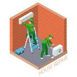 Isometric interior repairs concept. System of air conditioning. Home repair isometric template. The worker is standing on ladder and is attaching conditioner on Royalty Free Stock Photo