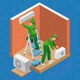 Isometric interior repairs concept. System of air conditioning. Stock Images
