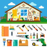 Home repair landscape. Construction. Tools and materials. Vector flat  illustration Royalty Free Stock Photos