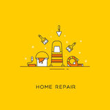 Home repair line art. The set of tools for the repair of apartments. Vector illustration Stock Photos