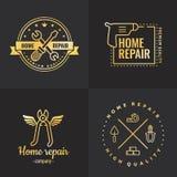 Home repair outline gold logo vector set. Part one. Stock Illustration