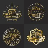 Home repair outline gold logo vector set. Part two. Vector Illustration