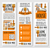 Home repair, painting, interior design banner set Stock Photography