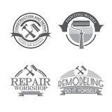 Home repair panting service  design labels set with black tools icons isolated  vector illustration. Stock Photo
