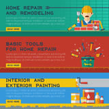 Home Repair Service Flat Banners Royalty Free Stock Images
