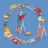 Home repair service. Isometric interior repairs concept. Worker on ladder, equipment and items isometric icon. Builders in uniform, professional tools. Vector Stock Images