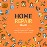 Home Repair Round Design Template Line Icon Concept. Vector. Home Repair Service Round Design Template Line Icon Concept for Web and App Include of Brick, Crane Royalty Free Stock Photo