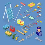 Vector set of tools, equipment  and items isometric icons. Home repair service. Vector set of tools, equipment symbols and items isometric icons. Building and Stock Photo