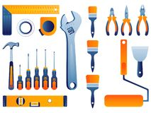 Home repair set. Hand tools for home renovation and construction vector illustration. stock illustration