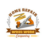 Home repair tool symbol with instrument. For carpentry and woodwork. Jake plane badge with measuring tape, nails and ribbon banner with wooden texture text Royalty Free Stock Photo