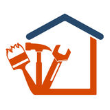 Home repair with the tool. Symbol vector Business Royalty Free Stock Photos