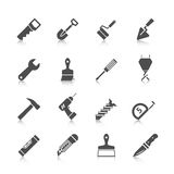 Home repair tools icons. Home repair tools graphic icons set with hammer saw screwdriver spade and drill black vector isolated illustration Royalty Free Stock Photo