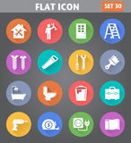Home Repair and Tools Icons set in flat style with long shadows. Stock Photos
