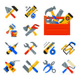 Home repair tools icons working construction equipment set and service worker macter box flat style isolated on white. Background vector illustration. Fix Stock Photo