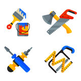 Home repair tools icons working construction equipment set and service worker macter box flat style isolated on white Stock Images