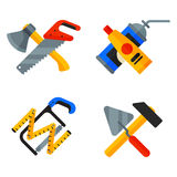 Home repair tools icons working construction equipment set and service worker macter box flat style isolated on white Stock Image