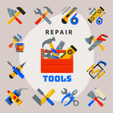 Home repair tools icons working construction equipment set and service worker macter box flat style  on white Royalty Free Stock Photos