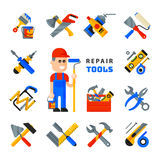 Home repair tools icons working construction equipment set and service worker macter man character flat style isolated Royalty Free Stock Image