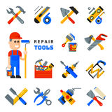 Home repair tools icons working construction equipment set and service worker macter man character flat style isolated Stock Photos