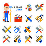 Home repair tools icons working construction equipment set and service worker macter man character flat style isolated Royalty Free Stock Images