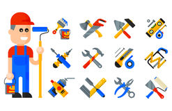 Home repair tools icons working construction equipment set and service worker macter man character flat style isolated Stock Photography
