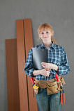 Home repair woman. With tools Royalty Free Stock Photography