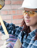 Home repair woman royalty free stock photo