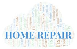 Home Repair word cloud. Wordcloud made with text only vector illustration