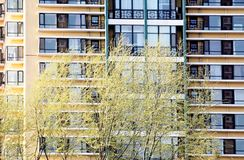 HOME residenciais na mola Imagem de Stock