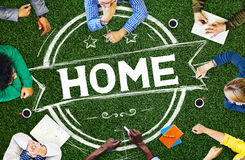 Home Residential Family Living House Concept.  stock photo