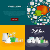 Home and restaurant kitchenware banner set, cooking equipment, kitchen utensil collection, domestic cooking steel and Stock Photography
