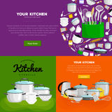 Home and restaurant kitchenware banner set, cooking equipment, kitchen utensil collection, domestic cooking steel and Stock Image