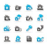 Home risk and insurance icons. Icon set Stock Photography