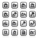 Home risk and insurance icons. Vector icon set Royalty Free Stock Photo