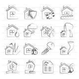 Home risk and insurance icons. Vector icon set Stock Photos