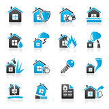 Home risk and insurance icons. Vector icon set Stock Photo