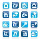 Home risk and insurance icons. Vector icon set Royalty Free Stock Images