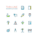 Home, Road Repair - Thin Line Icons Set. Home, road Repair - modern vector simple thin line design icons and pictograms set with accent color. Plan, door, bath Royalty Free Stock Photos