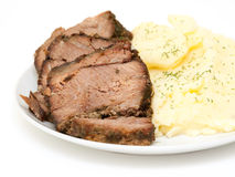 Home roast beef slices with mashed potatoes Stock Photography