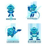 Home robots collection helping and replacing people in different activities. Blue chatbots icons. Home robots collection helping and replacing people in stock illustration