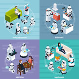 Home Robots 2x2 Isometric Design Concept Stock Images