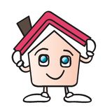 Home roof cartoon. House cartoon character holding a roof  illustration isolated on white background Royalty Free Stock Photos