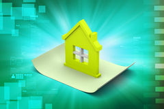 Home with roof. In color background Stock Photos