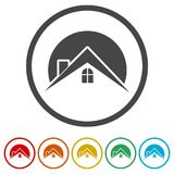 Home roof icon, Real estate symbol, 6 Colors Included. Simple  icons set Royalty Free Stock Photos