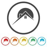 Home roof icon, Real estate symbol, 6 Colors Included. Simple vector icons set Royalty Free Stock Photography