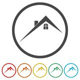 Home roof icon, Real estate symbol, 6 Colors Included. Simple vector icons set Stock Photos