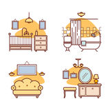 Home room icons. Living room, bedroom, bathroom Royalty Free Stock Photo