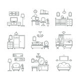 Home room icons set. Interior design room types. Living room, bedroom, bathroom, work space Royalty Free Stock Images