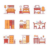 Home room types furniture signs set Stock Photos